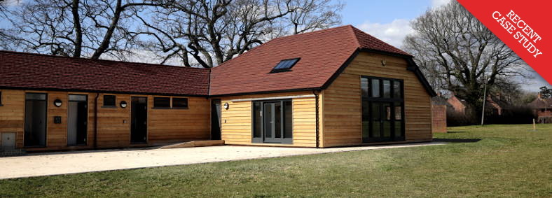 Exterior view of the newly built Allmond Centre (formerly Cowfold Pavilion) in Cowfold, West Sussex, near Horsham