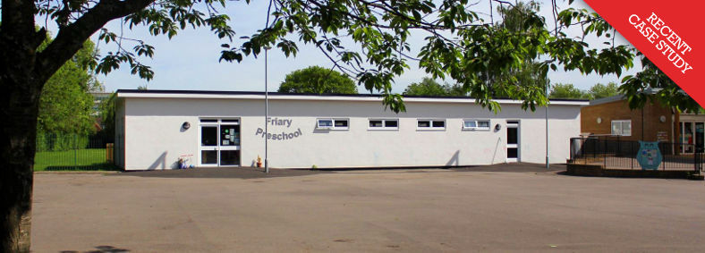 Exterior view of the newly built Friary Pre-School in Crawley, West Sussex