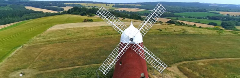 Aerial photograph showing the newly restored Halnaker Windmill, kindly provided by Drones & RC Flight