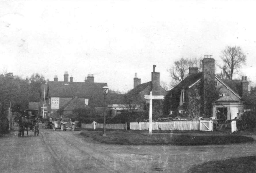 Huntscroft (to the right), the then Fowler office in Cowfold, pictured in 1912